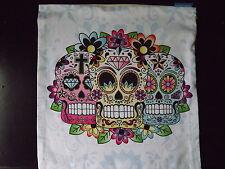 HOUSSE de COUSSIN GOTHIQUE Multicolore  Crâne jour des Morts - NEUF -