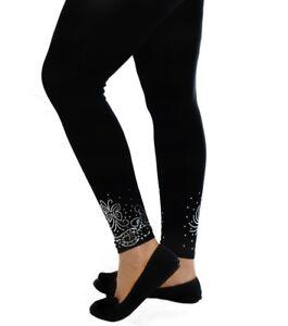 Womens Leggings Plus Size Ladies Foil Glitter Butterfly Elastic Trouser