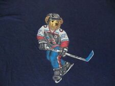 Vintage 90's Ralph Lauren POLO SPORT BEAR Hockey USA T Shirt men XL hip hop rap