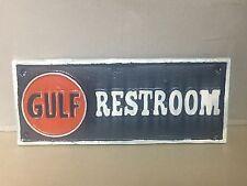 ~~~~Cast iron GULF RESTROOM gasoline sign motor oil pump plates ~~~~~
