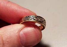Men's 14K Gold Wedding Ring with REAL diamonds with filigree