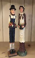 "Thanksgiving Decor Figurines Slender Pilgrim Couple With Harvest Bounty 11.5"""