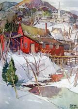 Vintage art Garnet Hazard Canada Winter Village Stream Trees scene