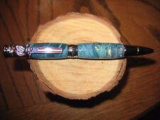 Gorgeous HM Chrome American Patriot Twist ballpoint Pen in Dyed Box Elder Burl