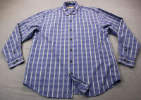 Tommy Bahama Mens Blue Striped Silk Cotton Blend LS Sport Shirt  L