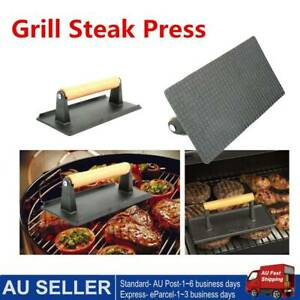Steak Press BBQ Cast Bacon Burger Grill Pressure Plate Wooden Handle