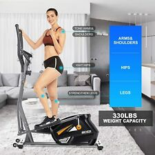 10 Level Black Elliptical Machine Trainer Home Cross Trainer with LCD Monitor UK