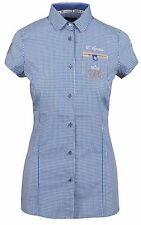 L' ARGENTINA Damen Bluse Shirt Polo Kurzarm Größe 38 M Baumwolle Blau Kariert