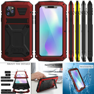 Gorilla Glass Metal Silicone Hybrid Shockproof Case Cover + Kickstand For iPhone
