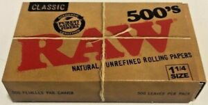 Raw Classic Natural Unrefined 500 Pack Cigarette Rolling Papers**Free Shipping**