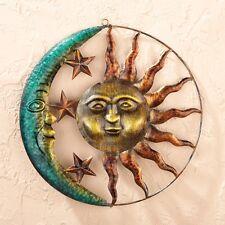 Rustic Sun Face Rays Moon Stars Metal Wall Art Hanging Patio Fence Home Decor