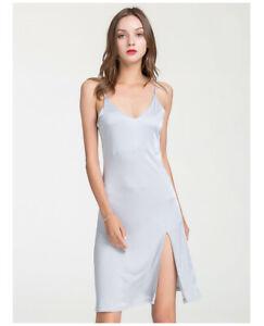 Women's Pure 100% Silk Knitted Night Shirt Dress Ladies Silk Gown Slip Sleepwear