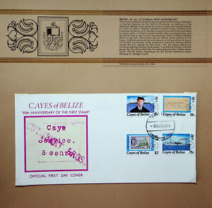 BELIZE 1984 90th ANNIV OF FIRST STAMP 4v ON ILLUSTRATED FDC