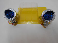 Scooter Mod Halogen Peak Winged Bullet Marker Spot Light Chrome Blue Lense Pair