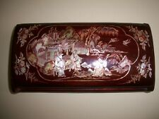 """Antique Japanese Wood Mother Of Pearl Inlay Cigarette Snuff Box Combo 7.5"""" x 4"""""""