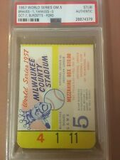 1957 World Series ticket from game 5.  Braves vs Yankees  PSA authentic