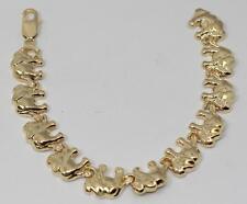 "14k Solid Yellow Gold Elephant Ladies Bracelet 7.75"" 24.2g"