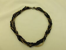 BNWOT NEW WITHOUT TAGS BLACK & GOLD COLOUR BEADED TWISTED ROPE NECKLACE