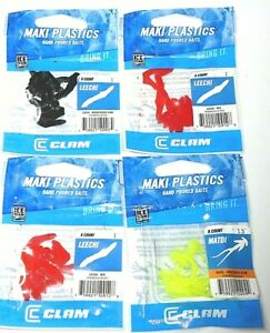"Clam 1"" & 1 3/8"" Maki MADTI & LEECHI Ice Jig Trailers (Lot of 4-8 per pack)"