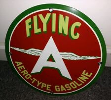 Flying A Gasoline gas oil sign. Free ship on any 8 signs
