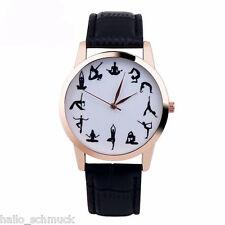 HS Damen Uhr Armbanduhr Quarzuhr Analog Lederband Yoga Watch Mode 24cm M13521