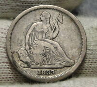 1837 Seated Liberty Dime 10C  - Nice Coin, Free Shipping (7753)
