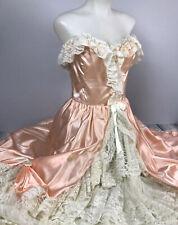 Prairie Dress Vintage Loralie Victorian Ruffle Tiered Bustle Peach Long Dress