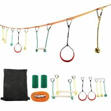 Children Obstacles Sling Ring Outdoor Physical Training Portable Monkey Pole Set