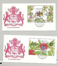 Guyana 1990 Butterflies 2v Black o/p Rotary S/S on 2 FDC