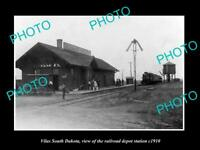 OLD LARGE HISTORIC PHOTO OF VILAS SOUTH DAKOTA, RAILROAD DEPOT STATION c1910