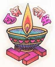 Colourful Hindi Subh and Labh Glitter Sticker - Adhesive Hindu Religious Sticker