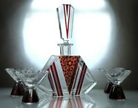 Art Deco Bohemian Karl Palda Clear Cut Glass Ruby Red Enamel Decanter Set