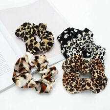 Scrunchies 5 Pcs Assorted Leopard Velvet Elastic Women Hair Ties (AUS Seller)