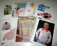 LOT of 7 Knitting yarn Baby patterns AFGHANS Hooded Jacket MATINEE COAT Cardigan