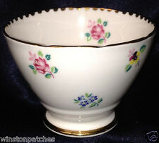 "ROYAL STAFFORD ROSE PANSY FORGET ME NOT OPEN SUGAR BOWL 2 1/2"" FLOWER SPRIGS"