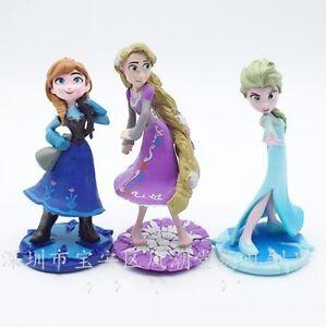 1 Set of 3 Disney Princess Colections Rapunzel Figures Dolls Toy Ornament 9-10cm