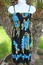 Black Blue Luau Hawaiian Floral Plumeria Adjustable Straps Short Beach Sun Dress