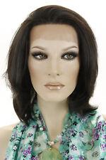 Darkest Brown Brunette Medium Lace Front Hand Tied Straight Wigs