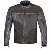 Men's Vintage Distress Brown Leather Cafe Racer Motorcycle Biker Jacket