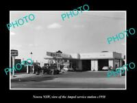 OLD LARGE HISTORIC PHOTO OF NOWRA NSW, AMPOL OIL Co SERVICE STATION c1950