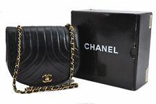 Auth CHANEL Calf Mademoiselle CC Logo Chain Shoulder Bag Black Box A5469