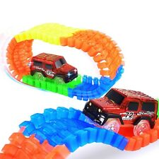 Magic Luminous Track Twister Car Racing Tracks & 80pc Block Set Glow in the Dark
