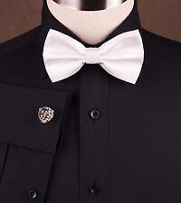 Men's Solid Black Poplin Formal Dress Shirt Pure Cotton or Polyester Blend Style