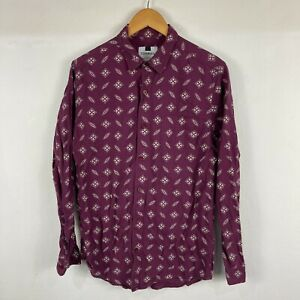 Topman Mens Button Up Shirt Size M Purple Textile Long Sleeve Collared