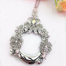 Crown Lucky Clover Pendant Magnifying Glass Long Chain Rhinestone Necklace Gift