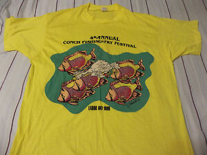 1986 CONCH FISHING & FRY FESTIVAL SCREEN STARS T SHIRT SIZE ADULT XL DEADSTOCK