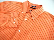 Gap Mens Shirt M Orange Striped Collared Relaxed Fit Long Sleeve Button Cotton