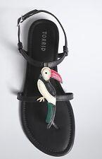 Torrid Size 12 W Wide Width Black Toucan T-Strap Flat Sandals NEW