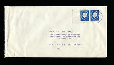 Germany 1959 Heuss 40 pfg  horiz pair Mef on cover to Chicago.
