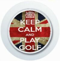 KEEP CALM AND PLAY GOLF CAR TAX DISC HOLDER REUSABLE PARKING PERMIT HOLDER